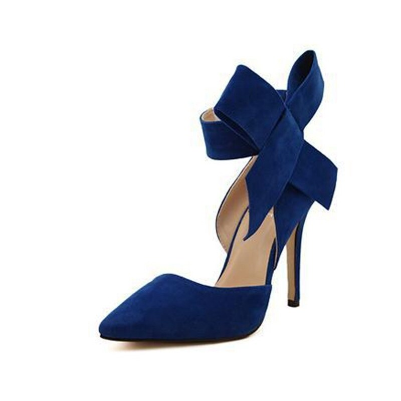 Ladies High Thin Heels Shoes Pointed Toe Red Bottom (Blue) | Lazada Malaysia
