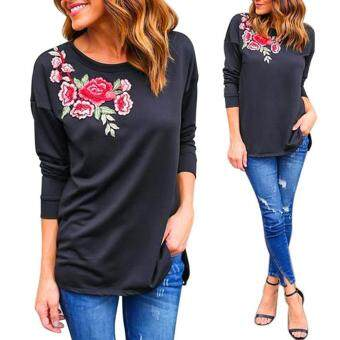 Moonar Women Lady Embroidered Loose Long Sleeve O-Neck Tops Blouse Shirt Casual Cotton T-Shirt