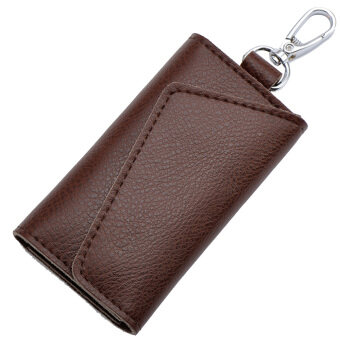 Multi-functional Genuine Leather Folding Door Key Electronic KeyHolder Bag Credit Card Coins Cash Snap Button Holder Wallet BagPouch Coffee