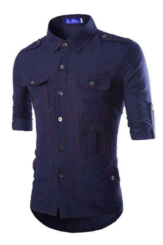 Summer Beach Mens Short Sleeved Shirt Blue Lazada Malaysia