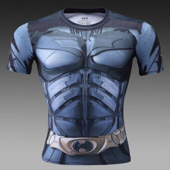 New Century sports stretch short-sleeved body sculptingquick-drying clothing slim fit clothing (Batman 2)