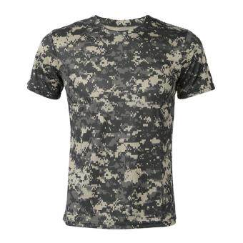 New Outdoor Hunting Camouflage T-shirt Men Breathable Army Tactical Combat T Shirt Military Dry Sport Camo Camp Tees-ACU (Grey)