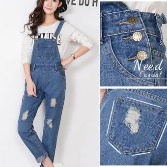 New Spring Denim Jumpsuits Women Vaqueros Romper Long PantsBleached Scratched Ripped Jeans Overalls Suspender Female Catsuit-Blue