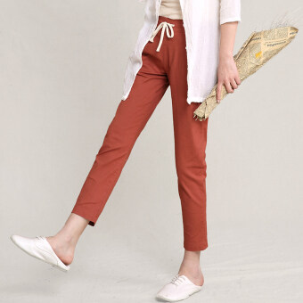 New style elastic waist summer Linen cropped pants (Rust red)
