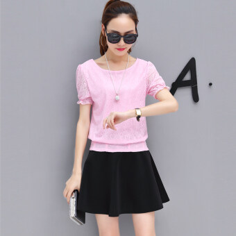 New style short sleeved chiffon shirt (Pink Top (send necklace))
