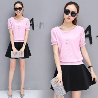 New style short sleeved chiffon shirt (Pink Top + skirt [Two Sets] To send necklace)