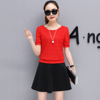New style short sleeved chiffon shirt (Red Top (send necklace))