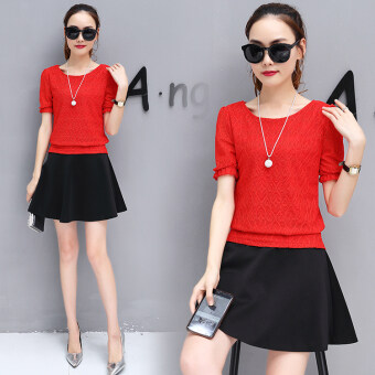 New style short sleeved chiffon shirt (Red Top + skirt [Two Sets] To send necklace)