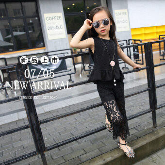 New style small girl lace sleeveless seven points sleeve tide wide leg pants (Black)