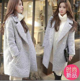 New Women Lady Warm Wool Cashmere Long Winter Korean Style Slim FitThick Wool Coat Overcoat Jacket Trench Outwear -Grey
