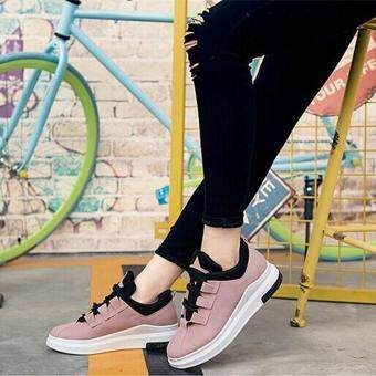 Ocean New Women Fashion Sneakers Han edition Flat Lace upBreathable Run Casual shoes(Pink)