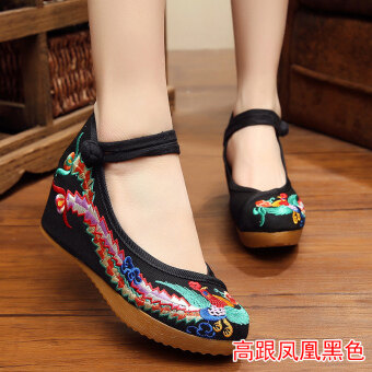 Old Beijing cloth shoes Female Summer embroidered shoes femalenational wind Han Chinese clothing shoes increased within thewedding shoes 2017 summer New style fashion (Black)
