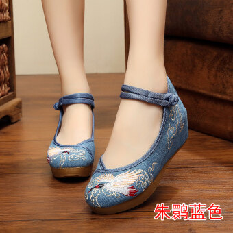 Old Beijing cloth shoes Female Summer embroidered shoes femalenational wind Han Chinese clothing shoes increased within thewedding shoes 2017 summer New style fashion (Crested Ibis blue)