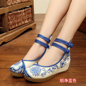 Old Beijing female Chinese clothing shoes cloth shoes (Bright and clean blue)