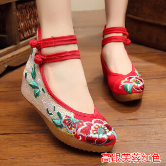 Old Beijing female Chinese clothing shoes cloth shoes (High-heeled hibiscus flower red)