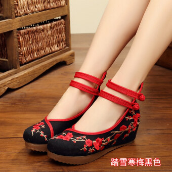 Old Beijing female Chinese clothing shoes cloth shoes (Snow samuume black)