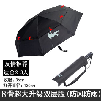Oversized 511 folding men's umbrella automatic double reinforcedwind to increase vinyl sun umbrella rain or shine dual (Upgradethree fold 8 large bone splicing double wind edition)