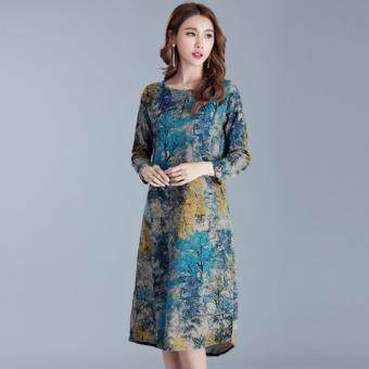Plus Size Popular Fashion Cotton Pattern Dress - Blue