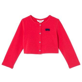 PONEY Girl Ribbon at Chest Long Sleeve Cardigan (Red)