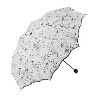Portable Folding Ladies Parasols Anti-UV Umbrella Windproof RainProtection Umbrella(Black Pattern)
