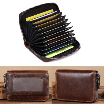 Portable Leather Organ Card Bag Cowhide Card Holders Wax Oil SkinZipper Card Package Men Wallet Business Purse Coin Bags BursesDecent Strap Wallet