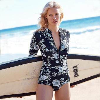 Print Floral One Piece Swimsuit Long Sleeve Swimwear Women BathingSuit Retro Swimsuit Vintage One-piece Surfing Swim Suits Black