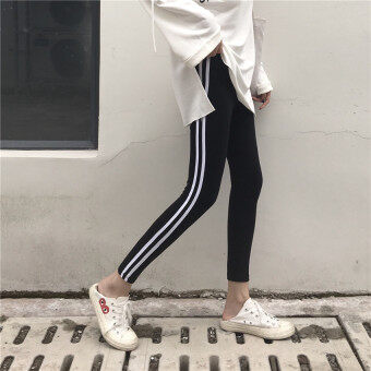 Retro Hong Kong flavor chic style Slim fit slim fit two strip barouter wear Slimming effect casual leggings high waist trousersfemale autumn tide (Black)