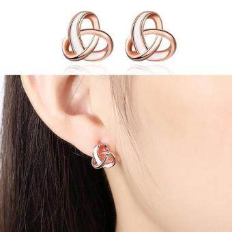 (rose gold)Women Elegant Fashion Jewelry Cross Knot Hollow Stud Earings Rose Gold