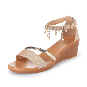Sandals Female Summer 2017 New style slope with leather flat wildKorean-style a word with flat with comfortable Plus-sized femalesandals (Gold)