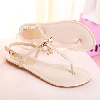 Sandals Female Summer flat 2017 New style shoes summer sandals cliptoe flat with Korean wild student beach flip female (Beige)