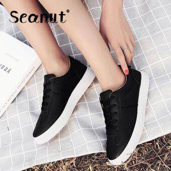 Seanut Fashion Sneakers Women Casual Sports Lace Up Shoes(Black)