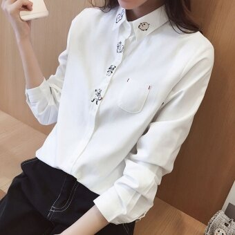 Shirt female long-sleeved 2017 Spring and Autumn dress New styleloose cute Korean-style College Wind wild student small freshTop(White)