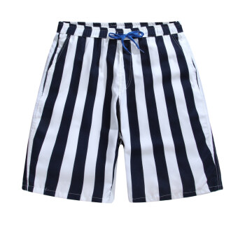 Shorts men summer 5 in five sports pants Plus-sized swimming pantsloose couple beach pants casual big pants tide (Beach pants blueand white striped)