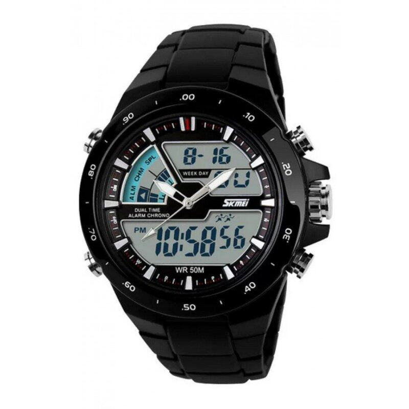 Skmei 1016 All Black Quartz Silicone Army Waterproof Sport Digital Analog Strap Watch(Int: One size) Malaysia