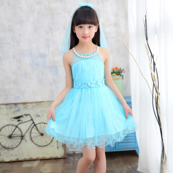 Small girl's summer mesh dress girls dress (Sky blue color) (Sky blue color)
