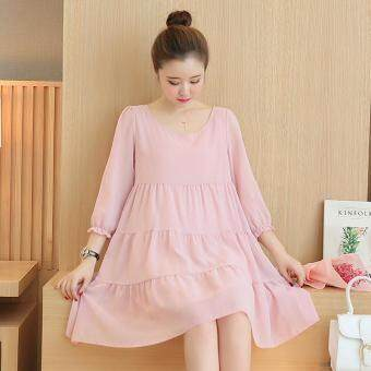 Small Wow Maternity Daily Round Solid Color chiffon Above KneeDress Pink