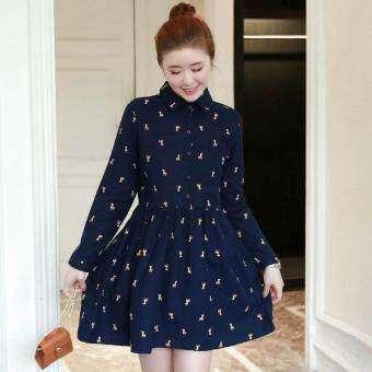 Small Wow Maternity Going Out Turn-down Collar Print Cotton LooseAbove Knee Dress Blue
