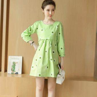 Small Wow Maternity Korean Round Print Linen Loose Above Knee DressGreen