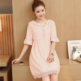 Small Wow Maternity Korean Round Solid Color Linen Loose Above KneeDress Pink