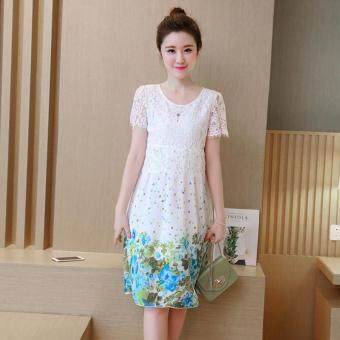 Small Wow Maternity Korean Round Stitching Contrast Color chiffonLoose Above Knee Dress Blue