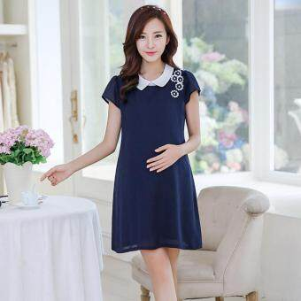 Small Wow Maternity Korean Turn-down Collar Solid Color chiffonAbove Knee Dress Dark Blue