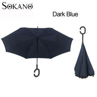 SOKANO Premium Quality Inverted Reverse Double Layer Umbrella with C Hook - Dark Blue