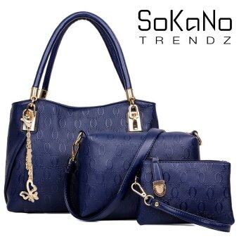 SoKaNo Trendz SKN824 European Designed Luxury Top Handle Tote Bag (Set Of 3)- Blue