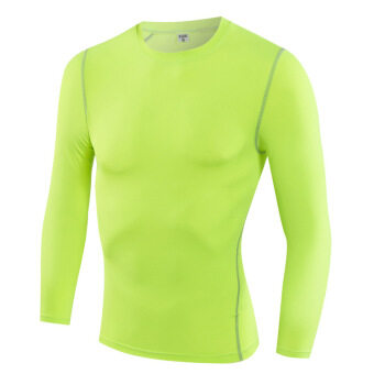 Sports quick-drying breathable male long-sleeved t-shirt slim fit clothing (Fluorescent green) (Fluorescent green)