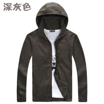 Spring and summer sun protection clothing for men and women skinclothing couple models thin Plus-sized long-sleeved sports coatcustom logo jacket (Dark gray color)