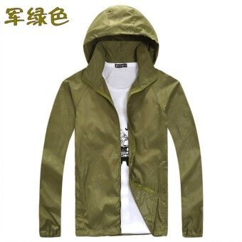 Spring and summer sun protection clothing for men and women skinclothing couple models thin Plus-sized long-sleeved sports coatcustom logo jacket (Dark green color)