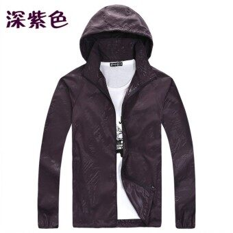 Spring and summer sun protection clothing for men and women skinclothing couple models thin Plus-sized long-sleeved sports coatcustom logo jacket (Deep Purple)
