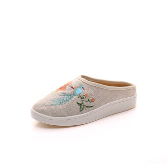 Summer antiquity cloth slippers Old Beijing embroidered shoes Chinese-style Han Chinese clothing national wind embroidered sandals slippers sandals and slippers women (Beige bird version2)