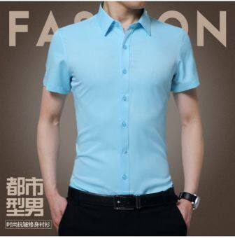 Summer men's short sleeve shirt (Sky blue color)