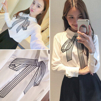Summer New style College Wind embroidery Butterfly knot small fresh loose Slimming effect white bottoming long-sleeved student shirt female